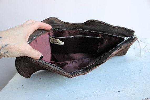 Vintage 1940s Purse / Brown Corde Handbag by Luxo… - image 9