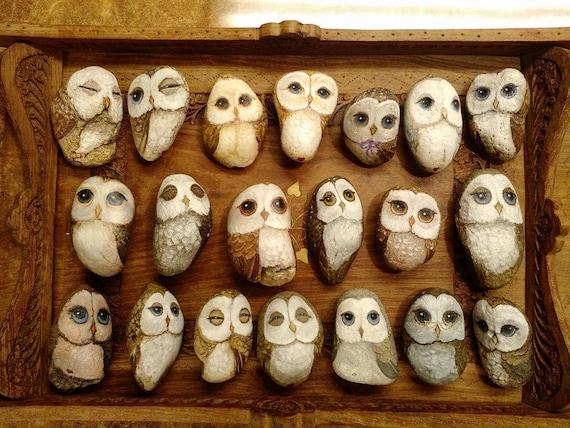Little Owl Pet Rock OOAK Hand painted