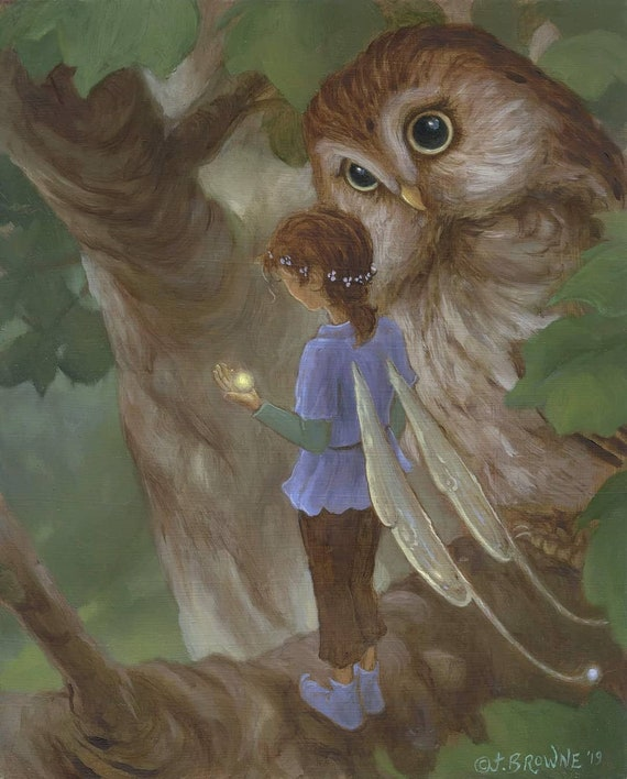 Let it Shine Fairy and Owl 8.5x11 Signed Print