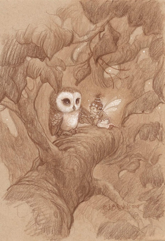 A Gentle Touch Owl and Fairy 8.5x11 Signed Print