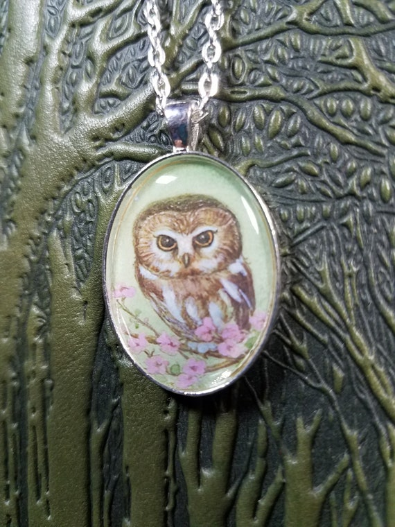 Saw Whet Owl Pendant Necklace