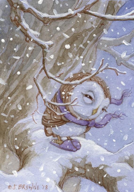 Little Swoopie Snow Owl 5x7 Signed Print