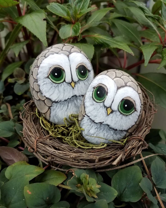Made to Order Mama Owl & Little Hoot hand painted Pet Rocks OOAK with mossy nest included