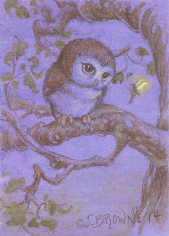 Perriwinkle Owl and Fairy 5x7 Signed Print