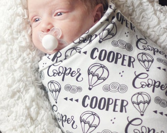 Swaddle - Hot air balloon adventure - Personalized Swaddle - Birth announcement - Baby name swaddle