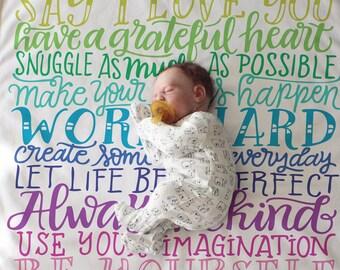 Rainbow family rules blanket - The ORIGINAL - Rainbow baby - Birth announcement - Rainbow fleece blanket