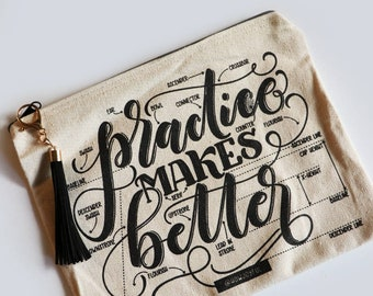 Practice makes better - Pencil case - Oversized pouch - Pencil case for artist - Anatomy of letters
