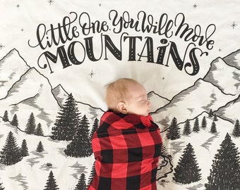 Little one, you will move mountains - Muslin cotton swaddle -  Extra large