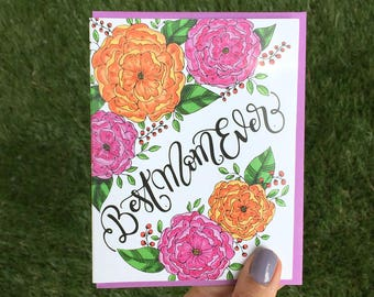 Best Mom ever card - Happy Mother's day card  - one card with a  color envelope