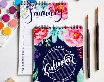 Watercolor Perpetual Calendar - Birthday and anniversary calendar - Family calendar