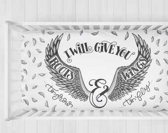 SALE! Organic cotton crib sheet - I will give you roots to grow & wings to fly