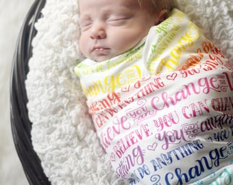 Swaddle - Rainbow swaddle - You can do anything - Believe you can change the world - Organic cotton & fleece baby swaddle