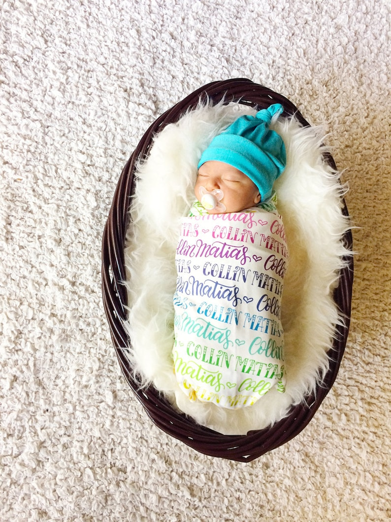 Organic cotton knit The ORIGINAL rainbow personalized swaddle Personalized swaddle Rainbow baby Birth announcement