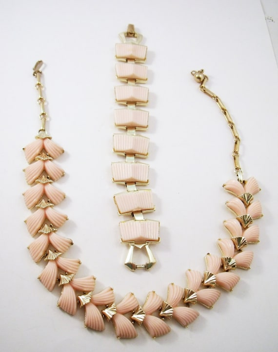 Coro Salmon pink plastic tile necklace and bracele