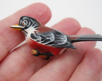 Robin brooch, hand carved, hand painted wood robin brooch