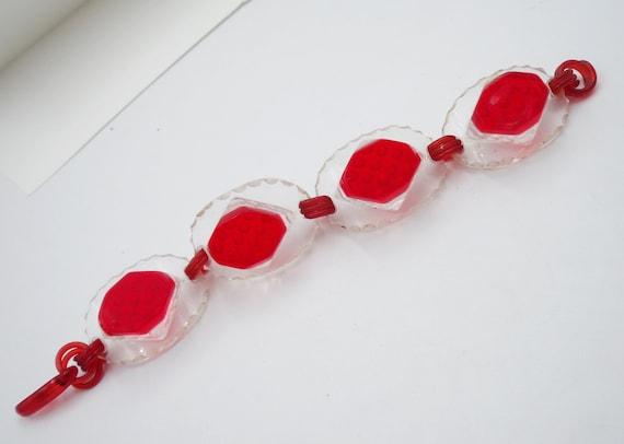 Red clear lucite link bracelet