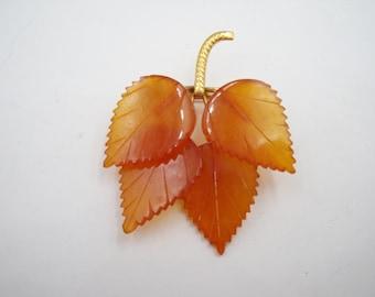 Amber leaves brooch