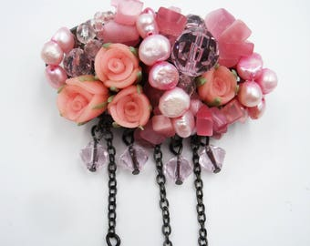Charming pink rosebud cluster brooch with crystal bead dangles and pink pearls