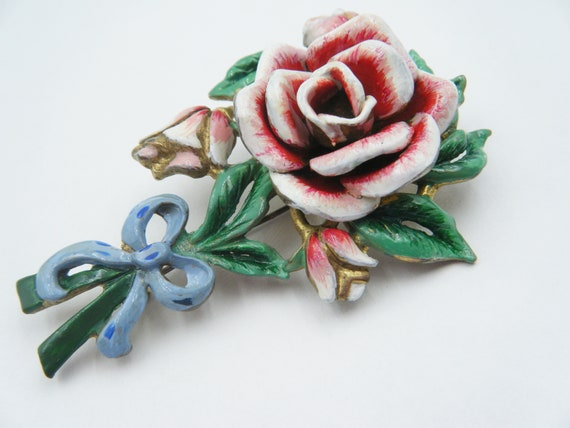 Circa 1940 enamel painted rose brooch