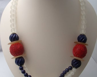 Vintage Chinese Import Cinnabar bead necklace