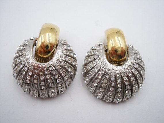 Fancy eighties rhinestone dome silver gold clip ea