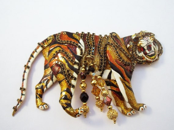 Lunch at the Ritz Articulated Tiger Brooch