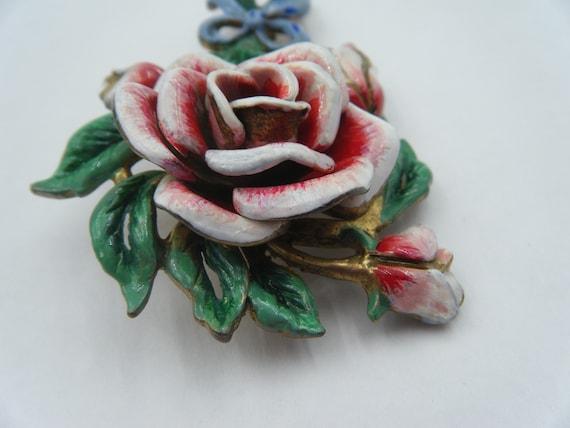 Circa 1940 enamel painted rose brooch - image 5