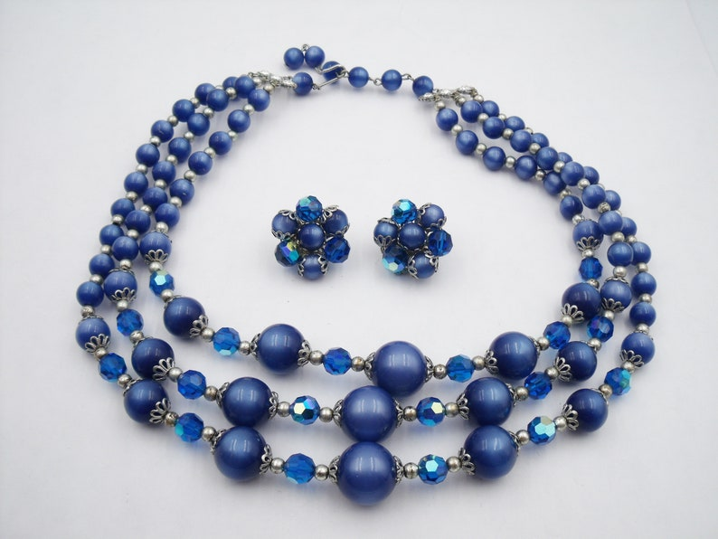Blue Triple strand moonglow and crystal necklace and cluster earring set