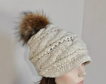 ad90930d6c0 Pompom Hat Visor Cap Brim Hat Pompom Beanie Hat Fur Pompom Hat Newsboy Hat  CHOOSE COLOR Black Ski Women Hat Christmas Gift under 100