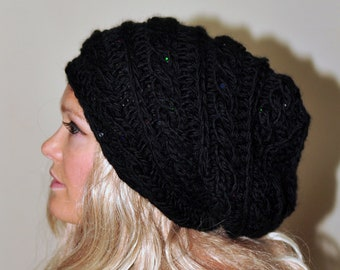 Slouchy Hat Slouchy Beanie Cabled Hand Knit Braided Winter Adult Teen  CHOOSE COLOR Black Midnight Dark Chunky Gift under 50 5adbf22a503b