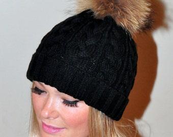 7374ccbccc61c9 Black Pompom Hat Beanie Women Black Hat Fur Pom Pom Hat SALE Ski Hat Cabled Hat  Raccoon Fur Pom Pom Christmas Gift
