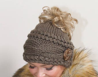 Messy Bun Hat Beanie Ponytail Beanie Messy Bun Hat CHOOSE COLOR Taupe Brown  Braided Ponytail Hat Beanie with hole Christmas Gift under 50 97faf6c36ca