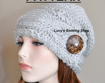 abf5948fd98b3 Slouchy Hat PDF PATTERN DIY Slouch Beanie Cable Button Knit Women Hat  Winter Adult