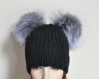 Black Double Pompom Beanie Kylie Jenner Hat 2 Fur Bobbles Hat CHOOSE COLOR  Ski Women Hat Kylie Jenner Style Christmas Gift under 100 1659229ed4a