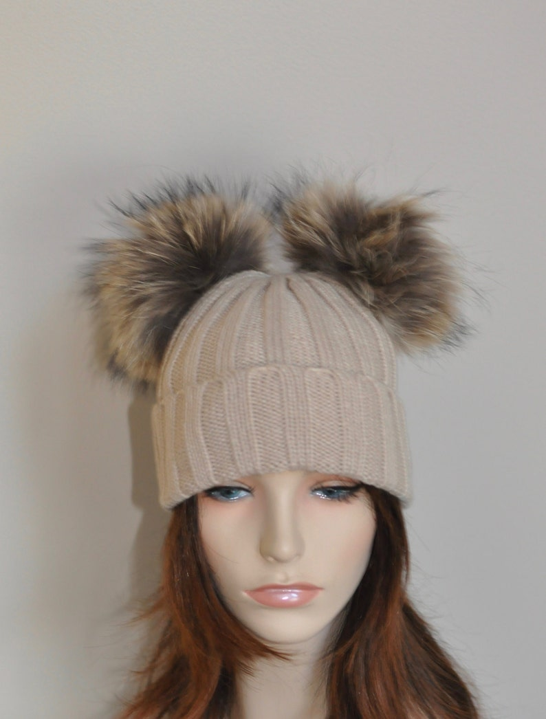 e5c42a46 Double Pompom Hat Beige Ribbed Hat with 2 Fur Pom Pom Hat SALE Ski Women  Hat Kylie Jenner Style Christmas Gift under 100