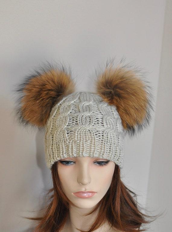 Double Pompom Beanie Kylie Jenner Hat 2 Fur Bobbles Hat CHOOSE  d5eed2ba804