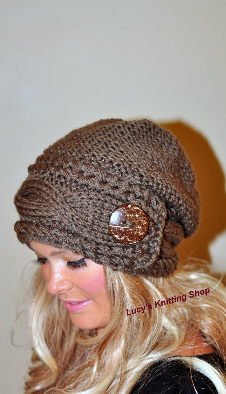 ed44060e Slouchy Hat Women Slouchy Beanie Women Cable Button Hat Winter Hat CHOOSE  COLOR Taupe Brown Milk Chocolate Fall Chunky Christmas Gift