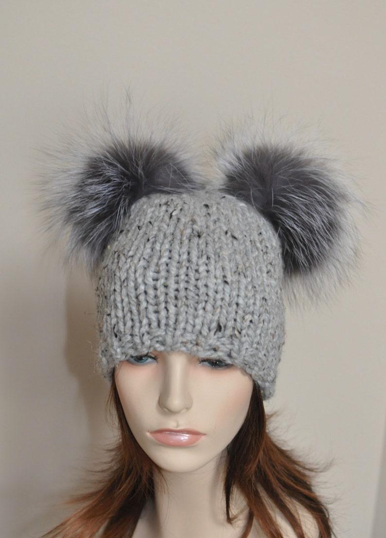 Double Pompom Hat 2 Bobble Hat 2 Fur Pom Pom Beanie Hat SALE  15608cd598a