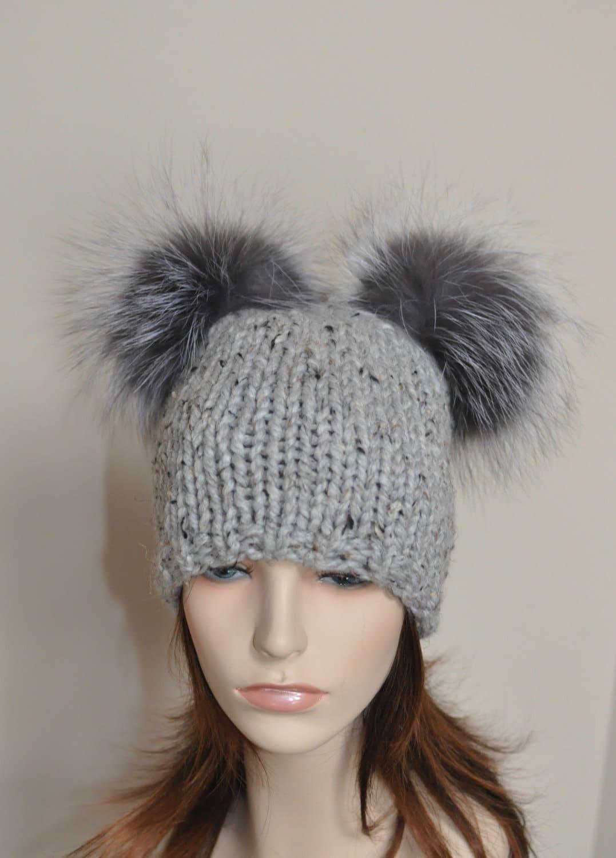 Double Pompom Hat 2 Bobble Hat 2 Fur Pom Pom Beanie Hat SALE  73969e73b16
