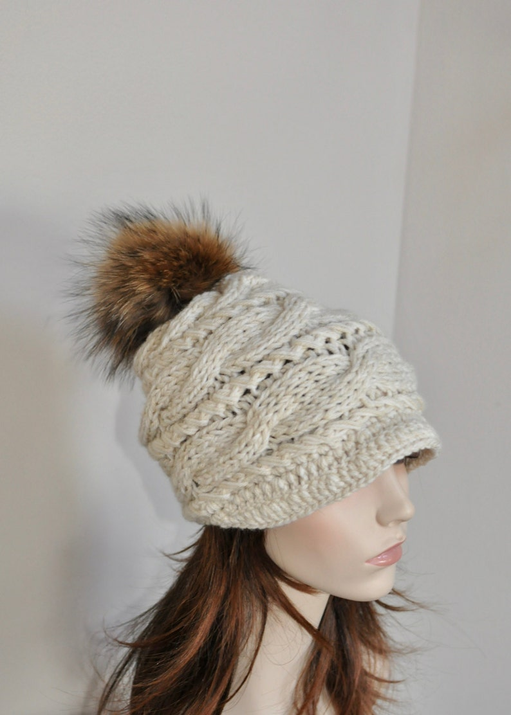 f3906a50588 Pompom Hat Visor Cap Brim Hat Pompom Beanie Hat Fur Pompom Hat