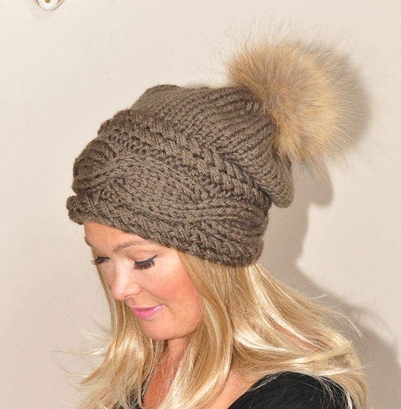 Fur Pompom Hat Slouchy Beanie Cable Hat Hand Knit Winter Women Hat CHOOSE COLOR Taupe Brown Milk Chocolate Fall Chunky Christmas Gift