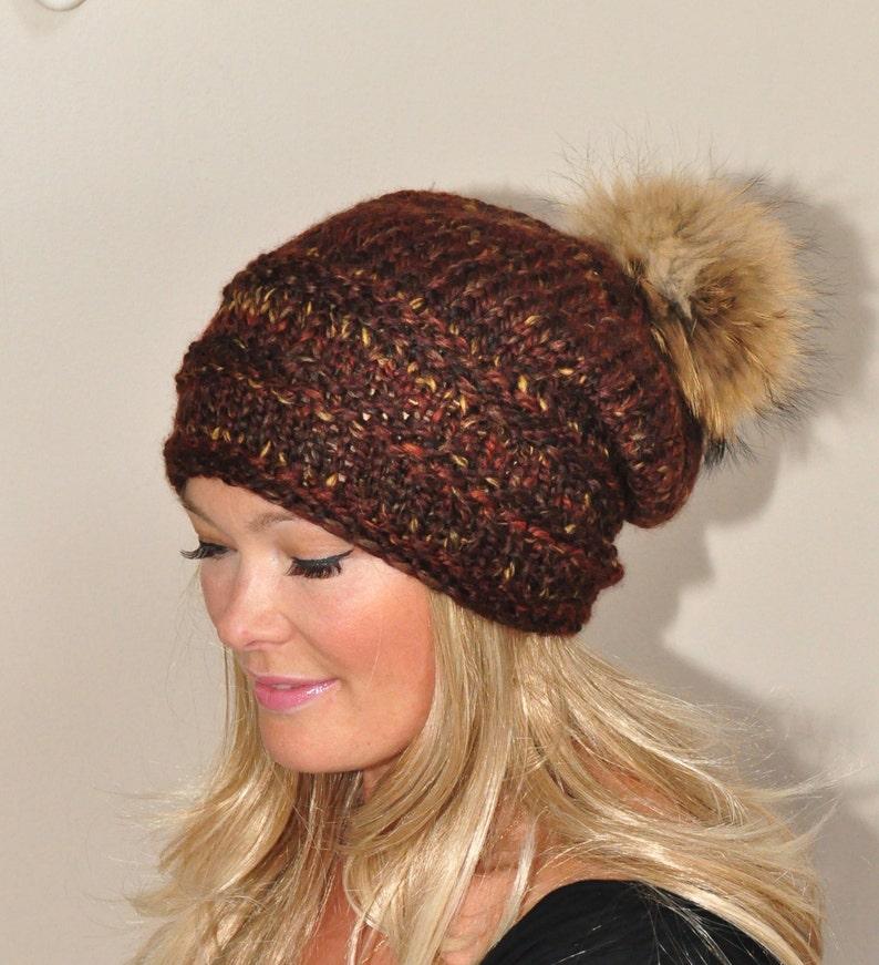 fd8121863a9 Pompom Beanie Fur Pompom Slouchy Beanie Hat Chunky Women Hat