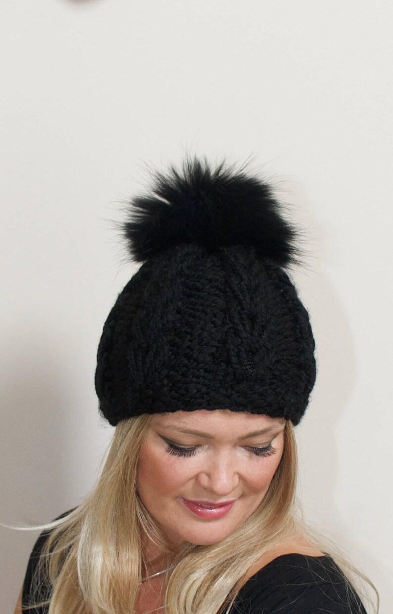 8b7dafe07a9 Black Pompom Beanie Black Beanie Hat Fur Pompom Beanie Hat