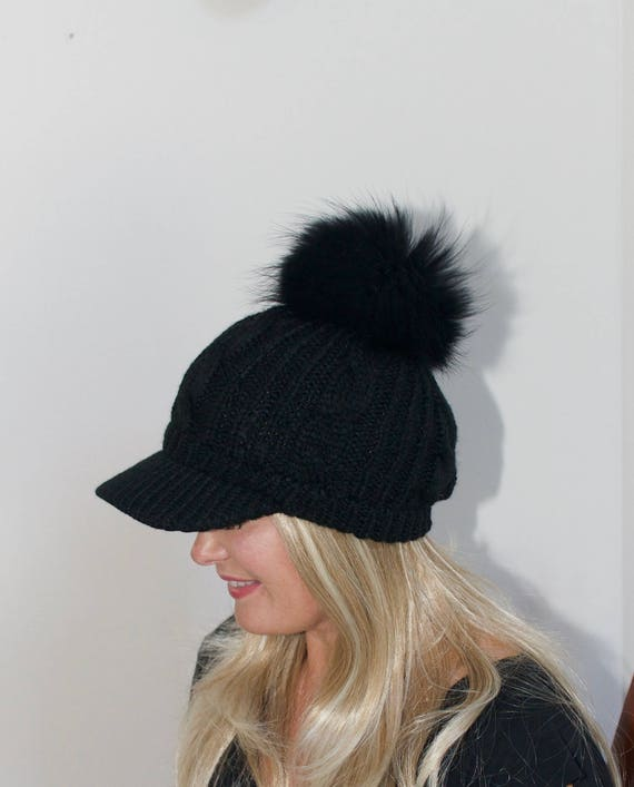 88a2bc669c5 Fur Pompom Beanie Visor Cap Brim Hat Pompom Beanie Fur Pompom