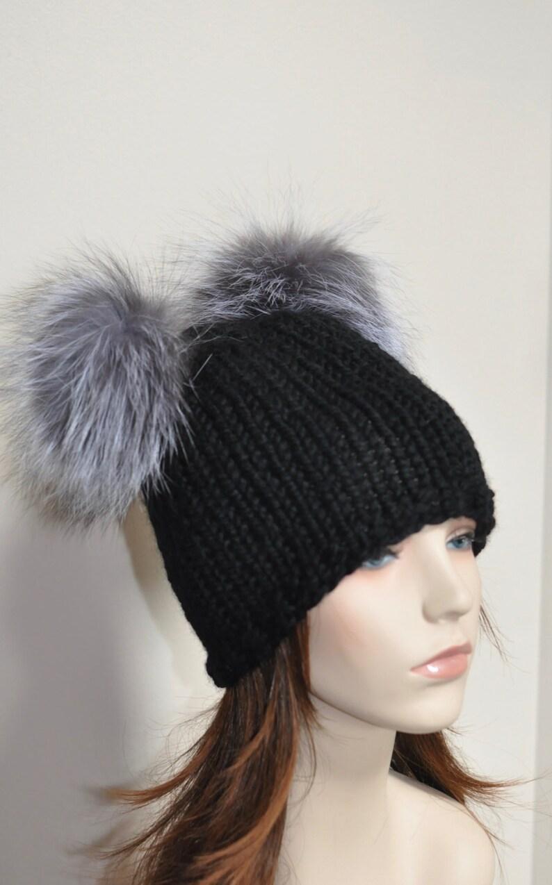 Black Double Pompom Beanie Kylie Jenner Hat 2 Fur Bobbles Hat  9e2dbdd6b75