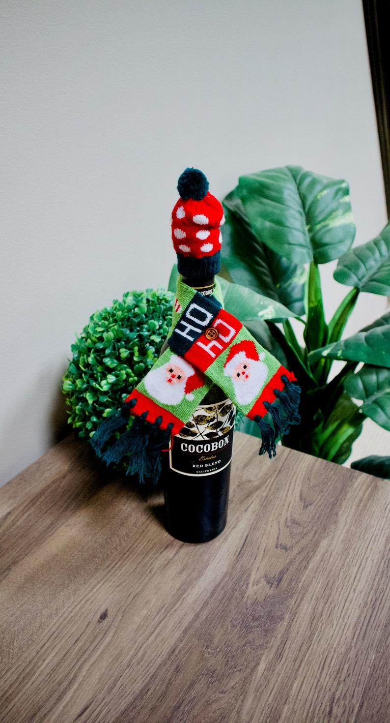 Christmas Gift under 10 Christmas Wine Bottle Cover Christmas Bottle Cover Christmas Hostess Gift Christmas Wine Bottle Holder