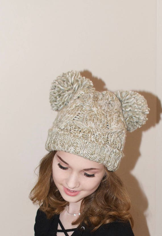 de6a10dc976 Double PomPom Hat 2 pompoms Cabled Beanie Hat Ski Hat Teen