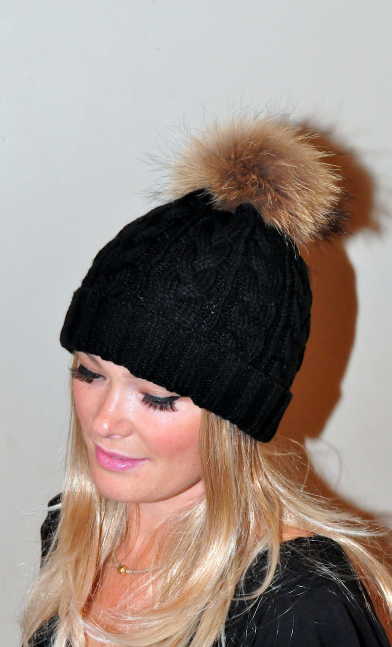 9fb99f33c85 Black Pompom Hat Beanie Women Black Hat Fur Pom Pom Hat SALE