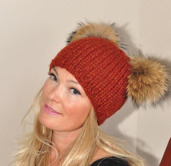 Fur Pompom Beanie Kylie Jenner Hat 2 Fur Bobbles Hat CHOOSE  e7273ae60d4
