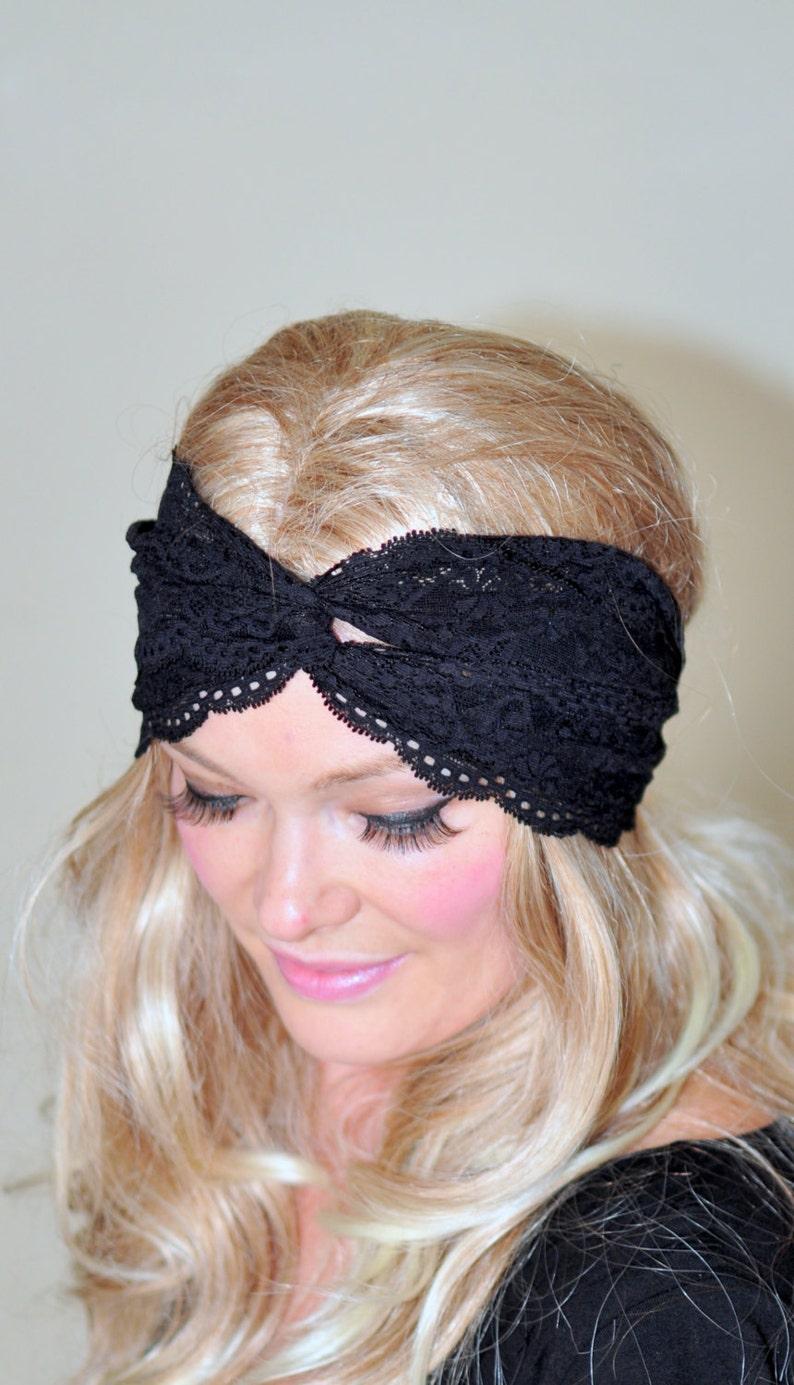 Turban Headband Black Lace Turban Black Turban Headwrap Lace  1f343ca6863